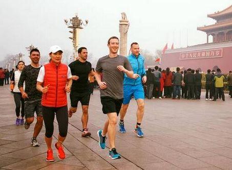 Facebook创始人晒在天安门广场跑步照片