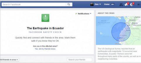 Facebook为地震提供安全检查功能